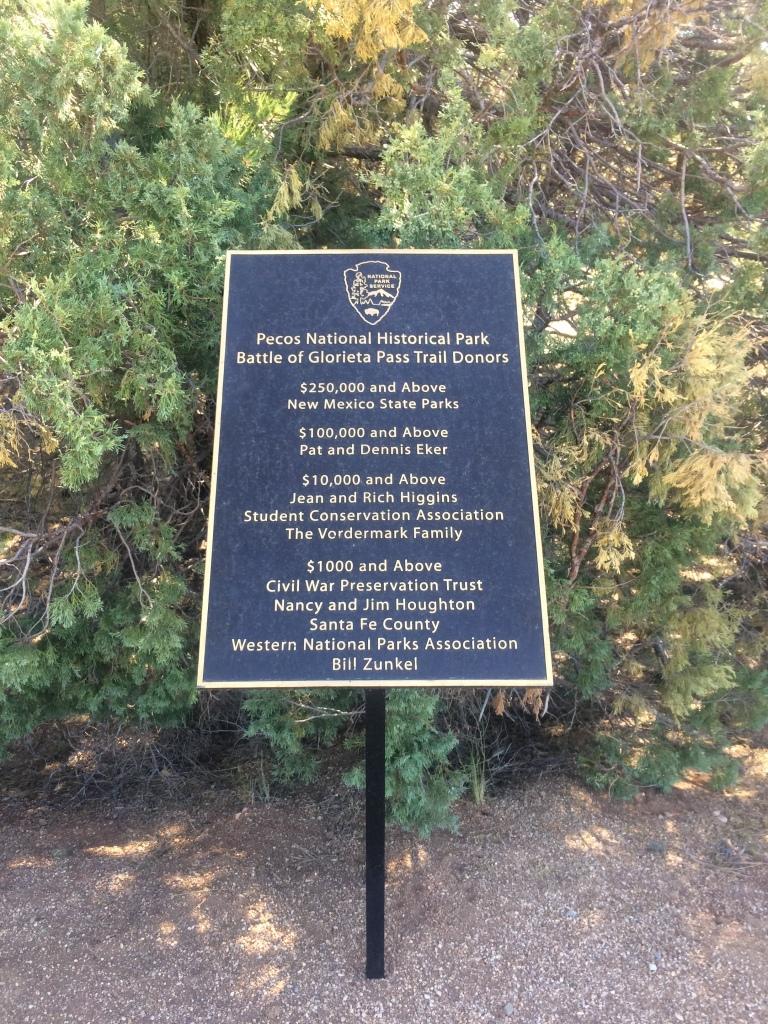 Pecos National Historical Park Battlefield Trail sign