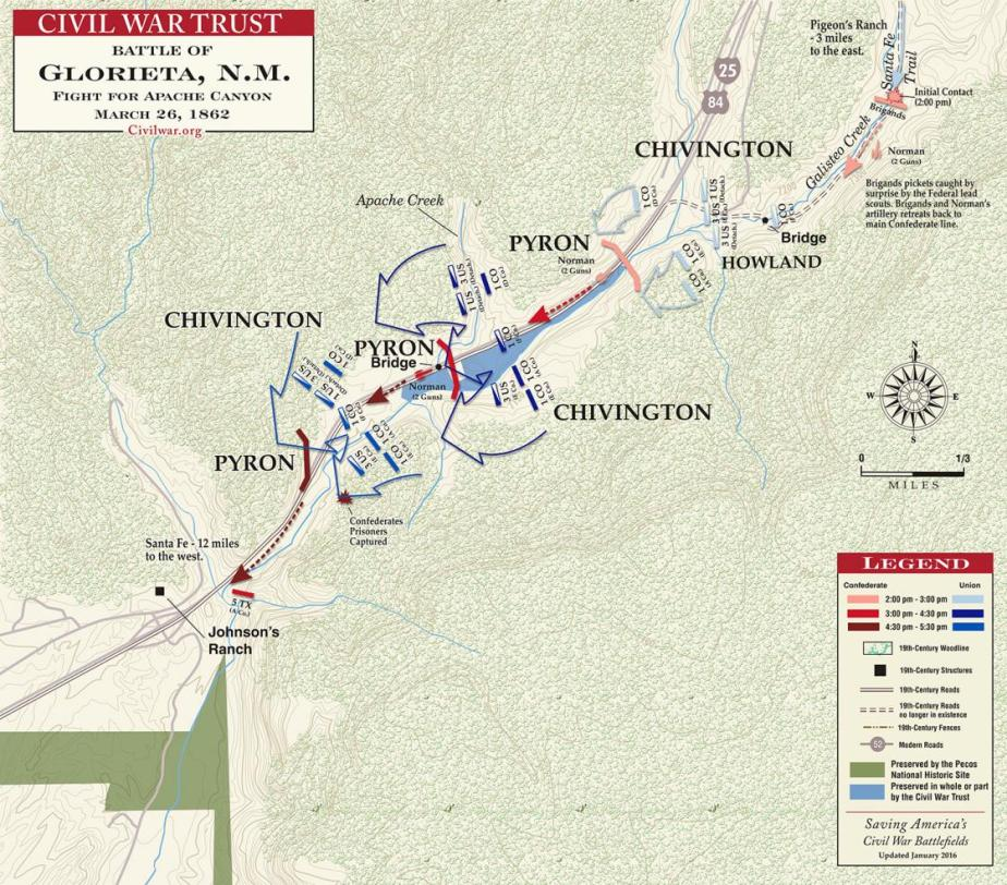 Glorieta Battlefield battle map at Fight for Apache Canyon
