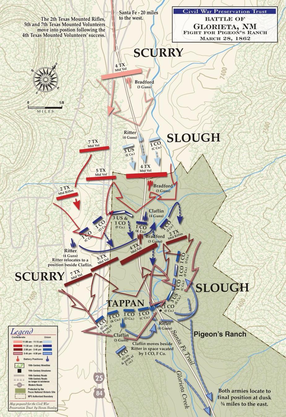 Glorieta Battlefield battle map at Pigeon's Ranch