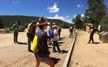 Arrowhead Pueblo hike - Park Ranger Susan briefs participants about the hike at the Civil War Trail parking lot